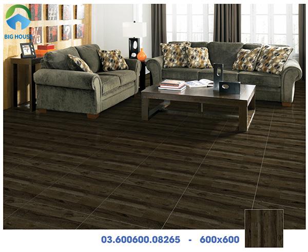 Mẫu gạch Prime vân gỗ 03.600600.08265 tông màu nâu đen, phong cách đơn giản