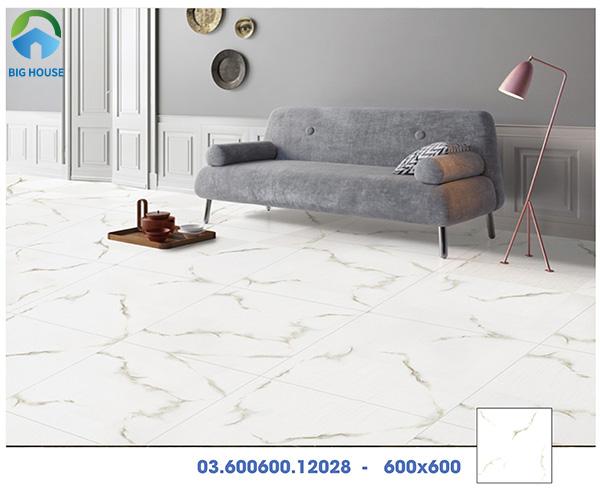 Mẫu gạch lát nền chống xước Prime 03.600600.12028 vân đá màu trắng sang trọng