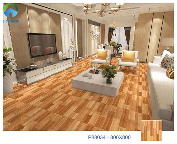 Mẫu gạch vân gỗ lát nền phòng khách P88034 bề mặt men matt