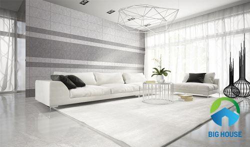 chọn gạch ốp tường phòng khách