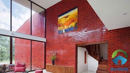 gạch thẻ ốp tường màu đỏ 3