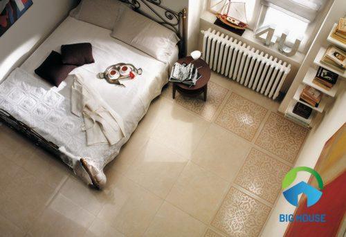 Gạch Porcelain 60x60 Ý Mỹ được sử dụng cho không gian phòng ngủ