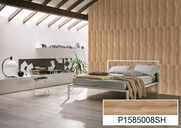 mẫu gạch ốp tường giả gỗ ý mỹ