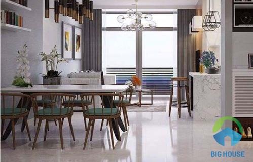 Gạch men bóng lát nền là lựa chọn hoàn hảo khi thiết kế phòng khách nhỏ 10m2
