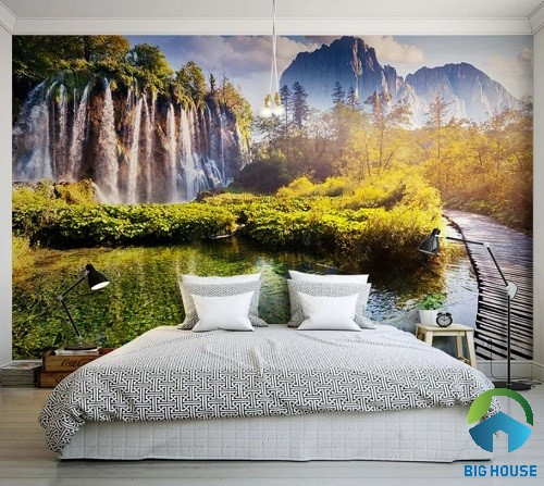 gạch 3d ốp tường phòng ngủ 3
