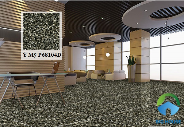 Mẫu gạch giả đá hoa cương Ý Mỹ P68104D vân đá đen, chất liệu granite