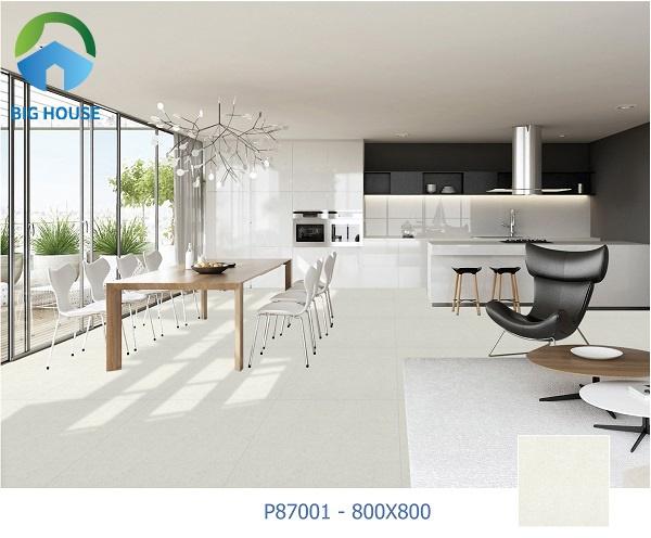Gạch Ý Mỹ P87001 có kích thước 80x80, màu xám nhạt trung tính toát lên vẻ đẹp sang trọng và hiện đại
