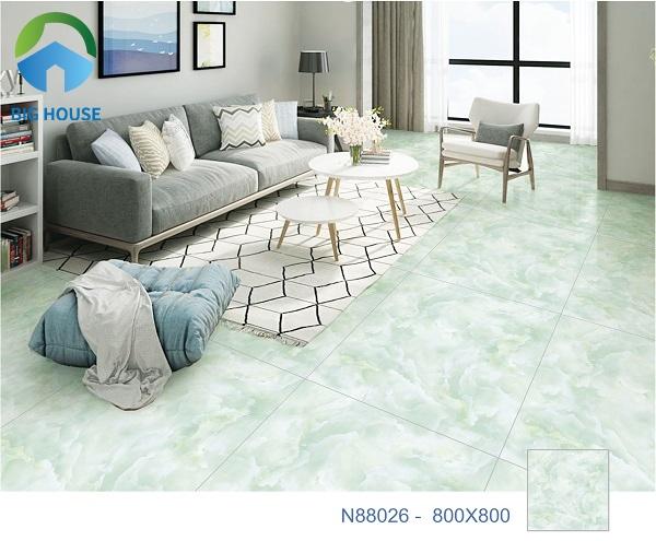 Mẫu gạch Ý Mỹ N88026 vân đá xanh ngọc bích tạo cảm giác tươi mát, dễ chịu và thư giãn