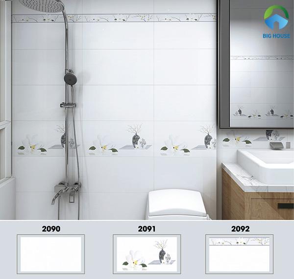 Bộ gạch ốp nhà vệ sinh 30x60 Hoàn Mỹ 2090, 2091, 2092 gam màu trắng trang nhã, thanh lịch