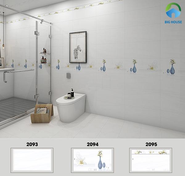 Bộ gạch ốp nhà tắm 30x60 Hoàn Mỹ 2093, 2094, 2095 gam màu trắng đơn giản