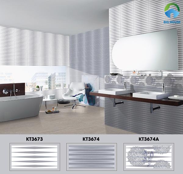 Bộ gạch ốp nhà vệ sinh 30x60 Viglacera KT3674, KT3674A, KT3673 với họa tiết hình học độc đáo