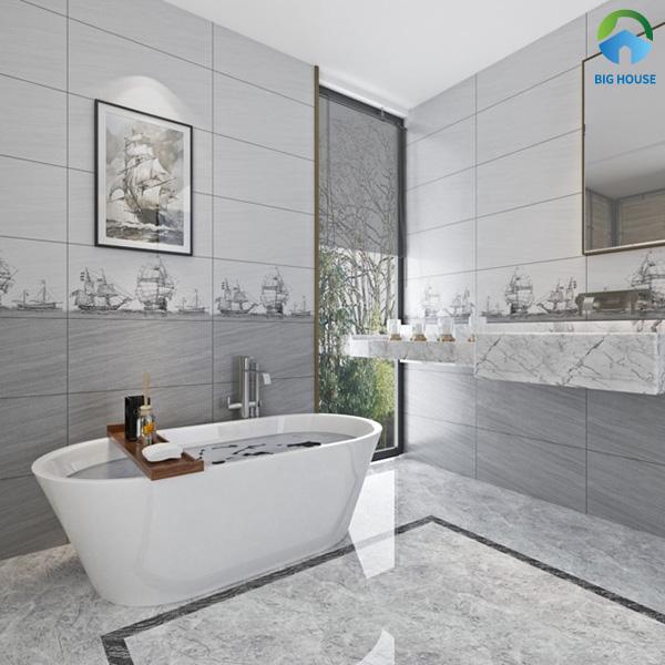 Nhà vệ sinh với 2 tông màu xám đậm và xám nhạt tạo sự hài hòa cho không gian