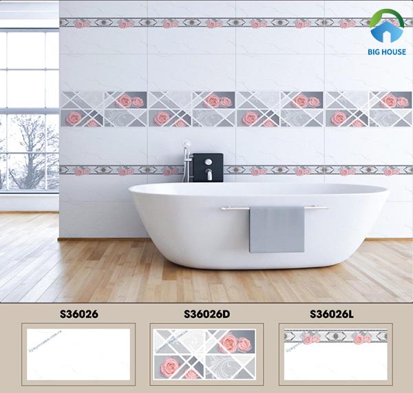 Gạch ốp nhà vệ sinh 30x60 Ý Mỹ S36026, S36026L, S36026D họa tiết đơn giản