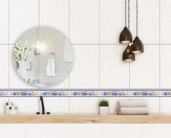 Bộ gạch ốp tường nhà tắm vân đá chéo màu trắng