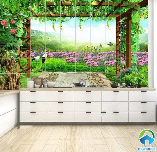 gạch ốp bếp tường 3d