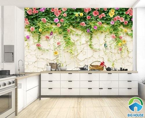 Mẫu gạch ốp 3D tường bếp