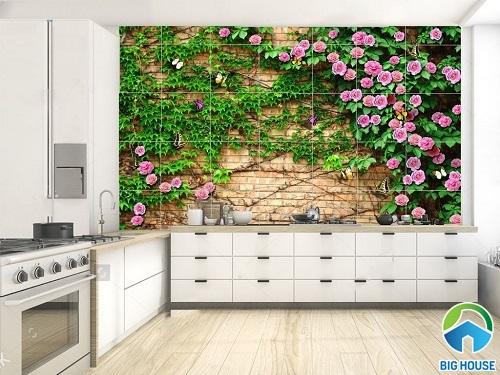 Gạch ốp bếp 3D bức tường hoa