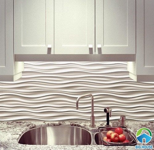 Gạch ốp bếp hiệu ứng 3D