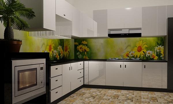 Mẫu gạch 3d với phong cảnh cánh đồng hoa cúc vàng