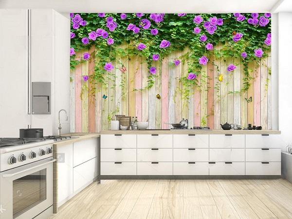 Gạch 3D với chủ đề tường hoa màu tím lãng mạn