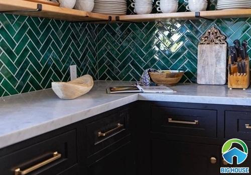 gạch ốp bếp màu xanh 12