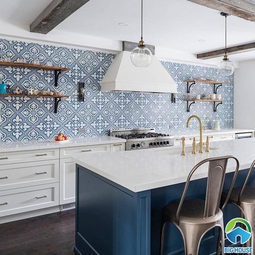 gạch ốp bếp màu xanh 7