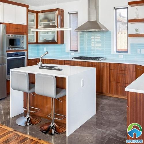 gạch ốp bếp màu xanh 9