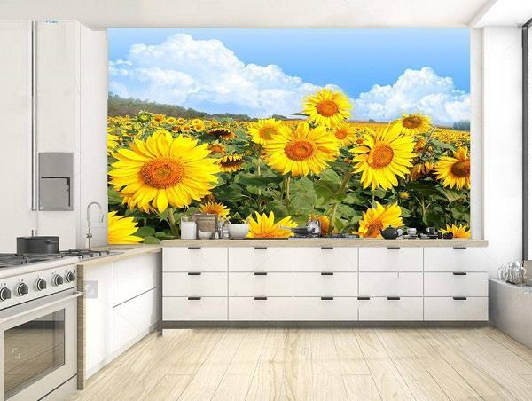 Mẫu gạch tranh ốp bếp 3D hoa hướng dương