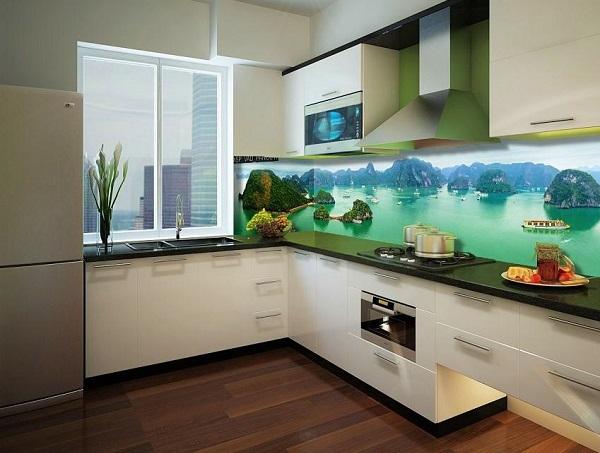 mẫu gạch ốp tường bếp 3d đẹp phong cảnh vịnh Hạ Long