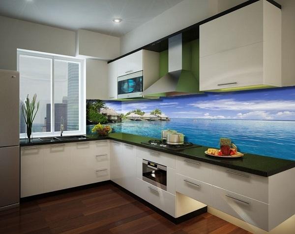 mẫu gạch ốp tường bếp 3d phong cảnh biển cả