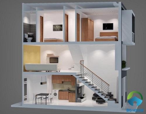 nhà gác lửng 2 tầng 3