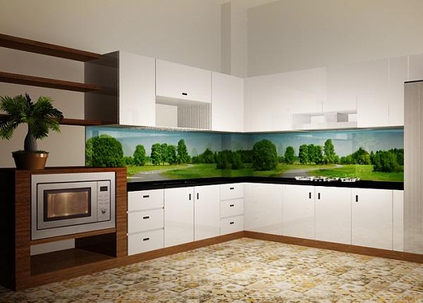 Gạch 3D phong cảnh rừng cây và đồng cỏ xanh mát