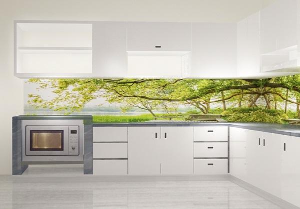 Mẫu gạch tranh 3D phong cảnh cây cối