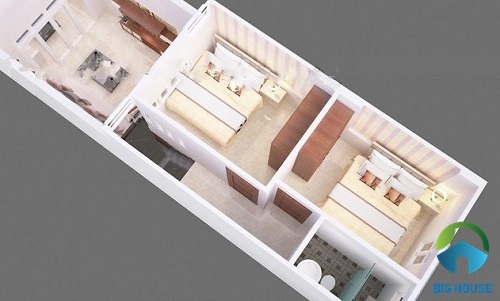 nhà cấp 4 gác lửng đẹp 3 phòng ngủ