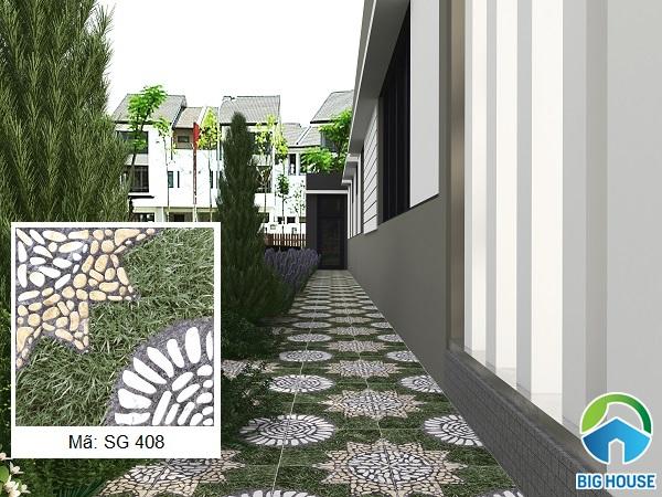 Mẫu gạch SG 408 họa tiết cỏ nhật xen lẫn sỏi đá