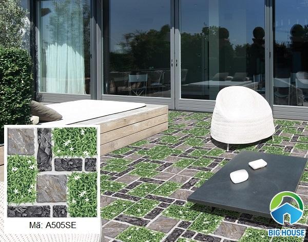 Mẫu gạch sân vườn Ý Mỹ A505SE họa tiết giả cỏ và đá xám đẹp tự nhiên