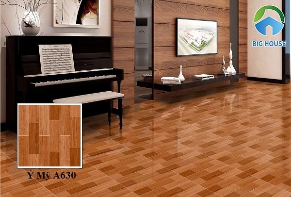 Mẫu gạch giả gỗ 60x60 Ý Mỹ A630 họa tiết vân gỗ gam màu nâu đậm