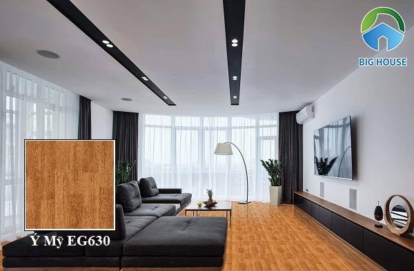 Mẫu gạch lát nền phòng khách Ý Mỹ EG630 họa tiết vân gỗ vàng nâu nổi bật