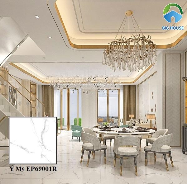 Mẫu gạch lát nền phòng khách Ý Mỹ EP69001R họa tiết vân đá marble trắng sang trọng