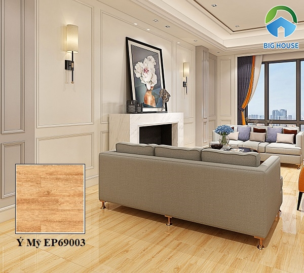Mẫu gạch Ý Mỹ EP69003 vân gỗ men bóng cho phòng khách chung cư sang trọng