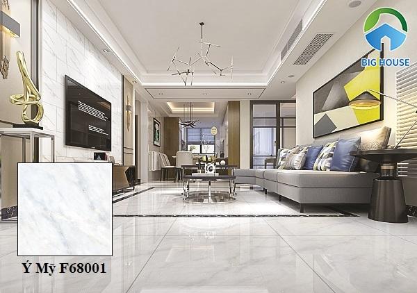 Mẫu gạch lát nền 60x60 vân đá Ý Mỹ F68001 gam màu trắng xanh hiện đại