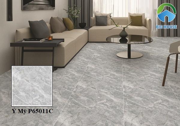 Mẫu gạch Ý Mỹ P65011C họa tiết vân đá xám cho phòng khách sang trọng