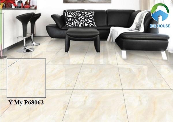 Gạch lát nền phòng khách Ý Mỹ P68062 gam màu hồng nhạt, họa tiết vân đá marble