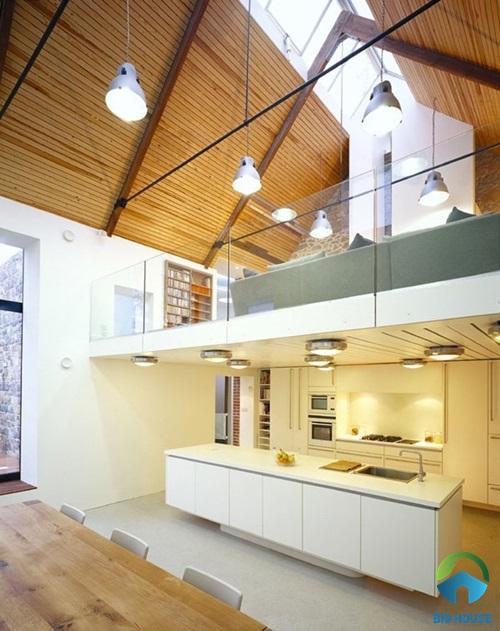 Thiết kế nhà gác lửng với phòng khách đặt ở tầng lửng