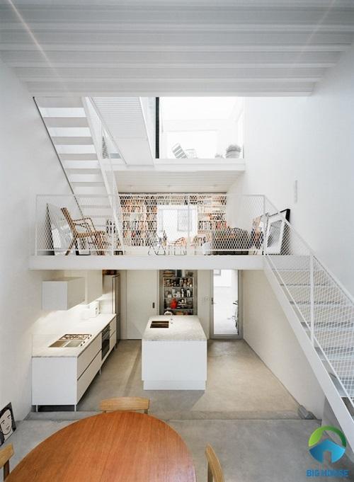 Thiết kế nhà gác lửng hiện đại tông màu trắng thanh lịch