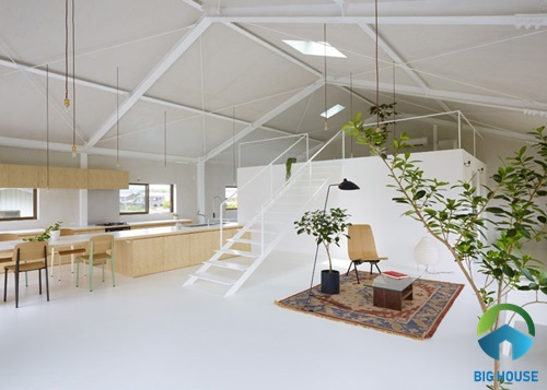 Nhà gác lửng thiết kế ấn tượng theo phong cách hiện đại tối giản