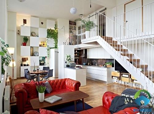 Thiết kế nhà gác lửng hiện đại cho nhà có diện tích hẹp