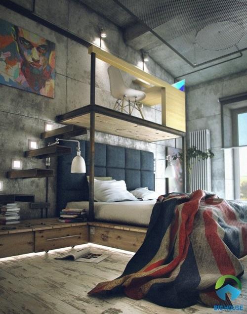 nhà gác lửng hiện đại 4 phòng ngủ
