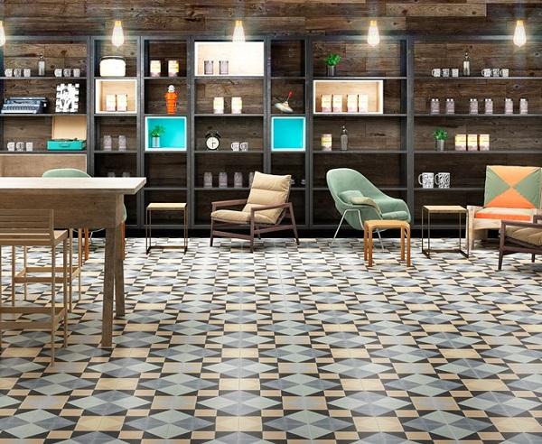 mẫu gạch bông đa dạng màu sắc lát quán cà phê