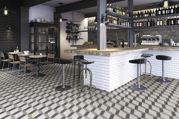 mẫu gạch bông họa tiết hình học cho không gian quán cafe